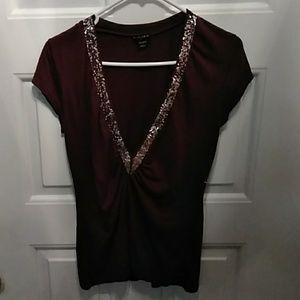 Fang Low Cut Sequin T-Shirt Size Large